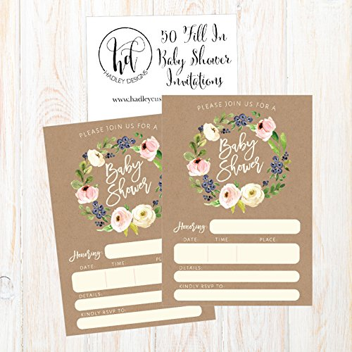 50 Fill In Cute Baby Shower Invitations Floral PINK /& Gold Neutral Blank Invites